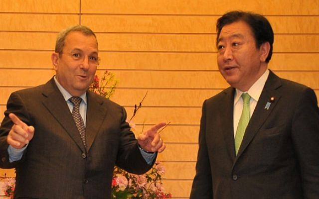 Ehud Barak in a meeting with Japanese Prime Minister Yoshihiko Noda on Wednesday (photo credit: Defense Ministry/Flash90)