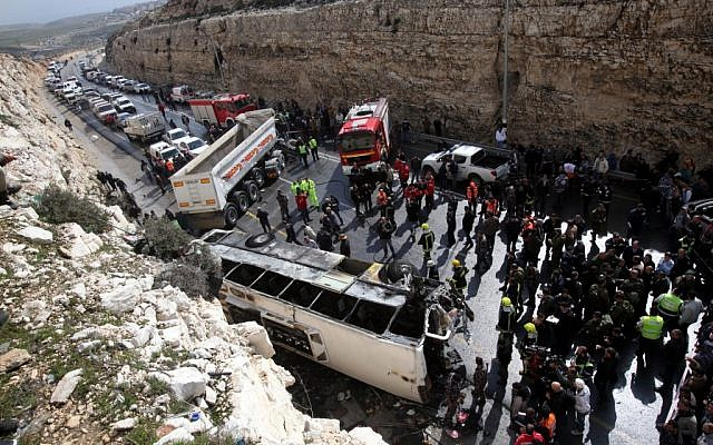 Scene of the collision between a schoolbus and a truck, north of Jerusalem on Thursday morning (photo credit: Yossi Zamir/Flash90)