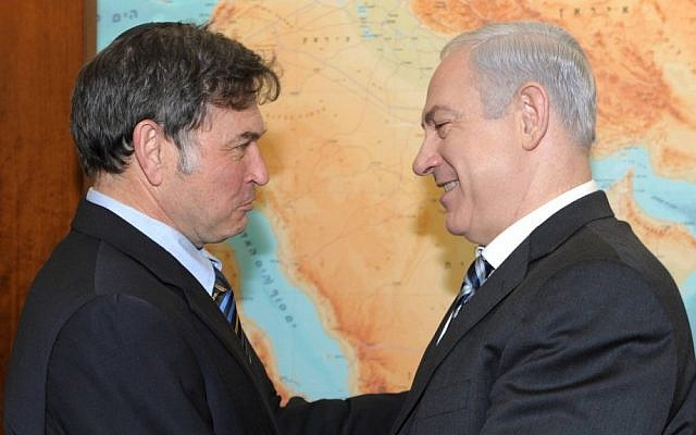 Prime Minister Benjamin Netanyahu congratulates Dr. Yehuda David upon his acquittal in France's highest court (photo credit: Moshe Milner/GPO/Flash90)
