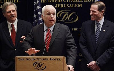 US Republican Senator John McCain speaking in Jerusalem in February 2012 (photo credit: Miriam Alster/Flash90)