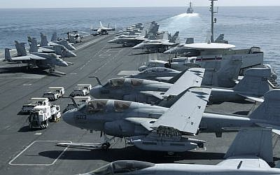 The flight deck of the USS Abraham Lincoln as it patrols the Persian Gulf (photo credit: AP/Hassan Ammar)