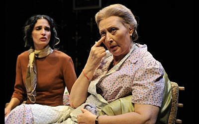 Rozina Kambos (right) in the Cameri Theatre's 'Return to Haifa'. (Photo credit: Yossi Tzavker)