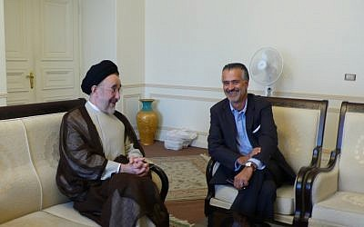 Hooman Majd (right) with Mohammad Khatami. (photo credit: Courtesy)