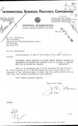 A typical Hitler-era letter from IBM Geneva to IBM NY micromanaging its German subsidiary. There were thousands of such communications during the Reich years. (photo credit: courtesy Edwin Black Collection, IBM files)