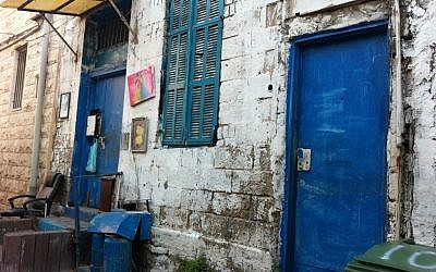 A typical doorway in the Kerem (photo credit: Michal Shmulovich, Times of Israel)