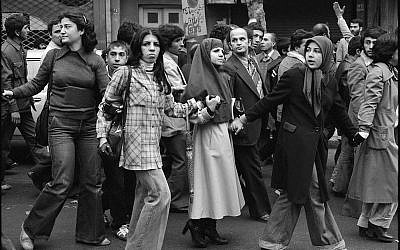 Youngsters partaking in Iran's Islamic Revolution in 1979 (photo credit: CC-BY-David Burnett parsine.com, Wikimedia Commons)