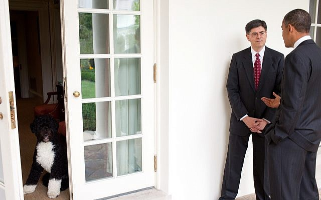 White House Chief of Staff Jack Lew talks with President Barack Obama on the Colonnade of the White House (photo credit: White House/Pete Souza)