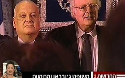 Salim Joubran, left, not singing on Tuesday. (photo credit: Screen capture, Channel 2)