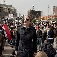 Marie Colvin in Tahrir Square, Cairo, in an undated photo (AP/Ivor Prickett Sunday Times)