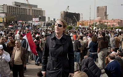 Marie Colvin in Tahrir Square, Cairo, in an undated photo (photo credit: AP/Ivor Prickett Sunday Times)