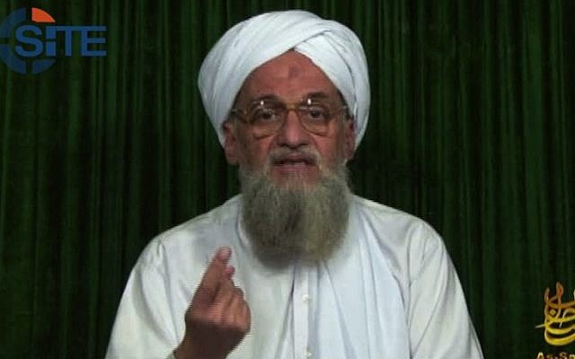 Al-Qaeda leader Ayman al-Zawahiri, February 2012. Zawahiri's brother is set to stand trial in Egypt for terror-related activity. (photo credit: AP/SITE Intel Group)