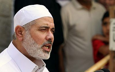 Former Hamas prime minister in Gaza, Ismail Haniyeh.  (photo credit: AP/Hatem Moussa)