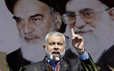 Hamas Prime Minister Ismail Haniyeh delivers a speech at a rally in Tehran in February. (photo credit: AP/Vahid Salemi)