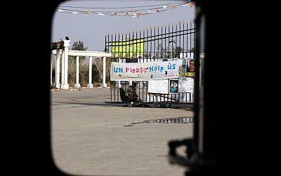 The main gate of Camp Ashraf in Khalis, north of Baghdad. (photo credit: AP)