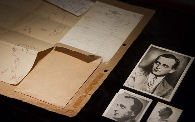 A photograph of Ricardo Klement, right, used by forensics experts to compare and identify Adolph Eichmann, left and top, are part of the display (photo credit: AP/Dan Balilty)