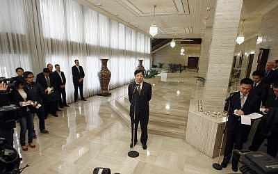 Chinese Vice Foreign Minister Zhai Jun speaks to the media in Damascus. (photo credit: AP)