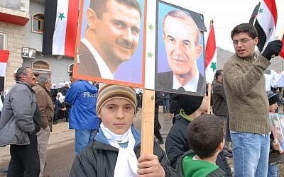 Pro-Assad demonstration in the Golan Heights, 2007 (Haim Azulay/Flash90)