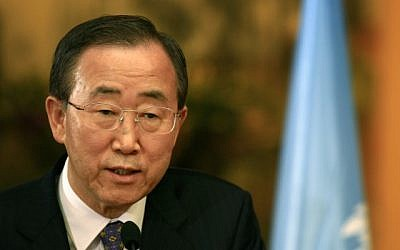 UN Secretary-General Ban Ki-moon (photo credit: Nati Shohat/Flash90)