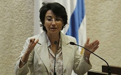 MK Hanin Zoabi addressing the Knesset in June 2010 (photo credit: Miriam Alster/Flash90)