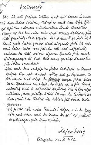 Stefan Zweig wrote hundreds of thousands of words in a celebrated literary career. His suicide note, penned 70 years ago Wednesday at the height of WWII, took up less than one page. (photo credit: Courtesy of the National Library of Israel)