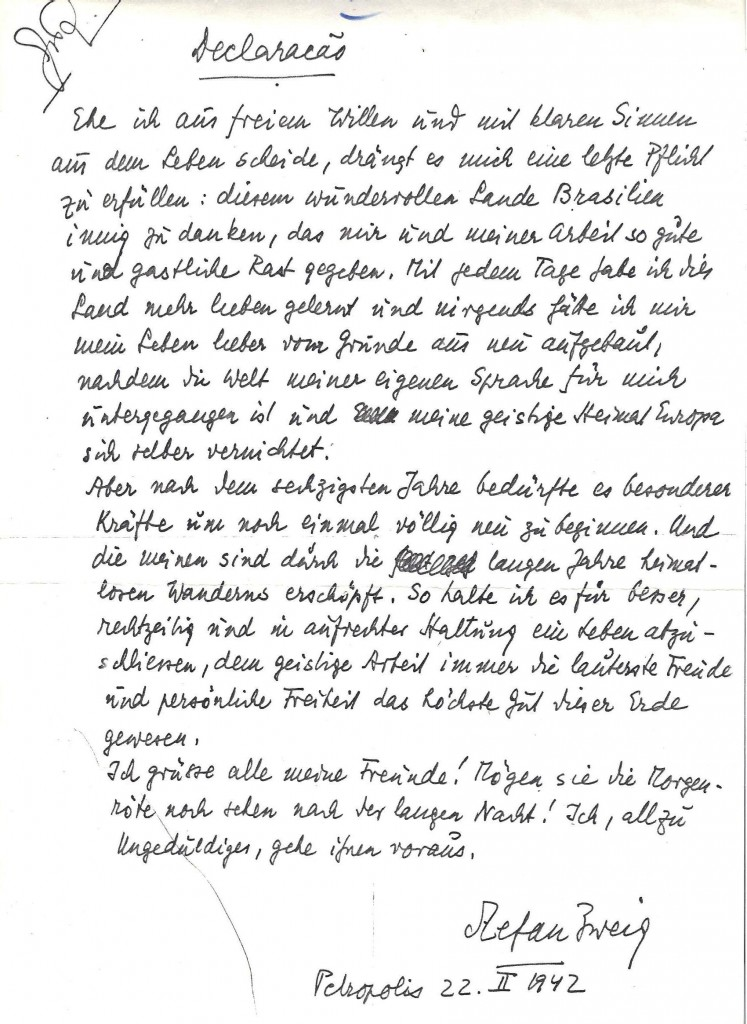 70 years later a handwritten note recalls the end of a literary stefan zweig wrote hundreds of thousands of words in a celebrated literary career his suicide expocarfo