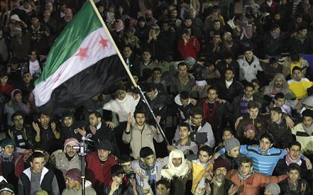 Syrians protest in Idlib (AP)