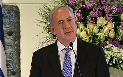 Benjamin Netanyahu speaks at Tuesday's ceremony (photo credit: Channel 2 screen capture)