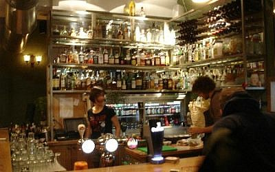 A view of the bar (photo credit: Jessica Steinberg/The Times of Israel)