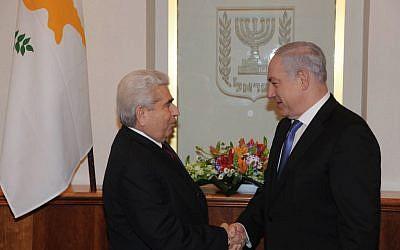 Benjamin Netanyahu met with Cyprus President Christofias Demetris last year in Jerusalem (photo credit: Amos Ben Gershom/GPO/Flash90)