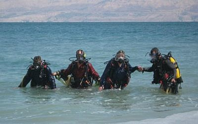 Divers in the Dead Sea (illustrative photo credit: courtesy Dead Sea Divers)