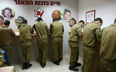 IDF recruits at a bone marrow registration (photo credit: courtesy Ezer Mizion)