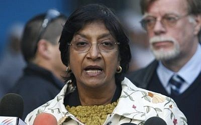 United Nations High Commissioner for Human Rights Navi Pillay (photo credit: Wissam Nassar/ Flash90)
