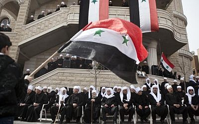 A  pro-Assad rally in the northern Israeli Druze town of Majdal Shams in 2012 (photo credit: Matanya Tausig/Flash90)