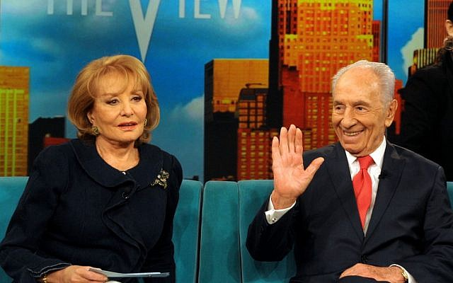 President Shimon Peres with Barbara Walters on ABC last year. (photo credit: Moshe Milner/GPO/ Flash90)