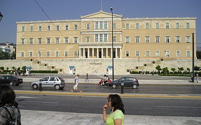 The Greek parliament building in Athens. (photo credit CC-SA amberaccb, Flikr)