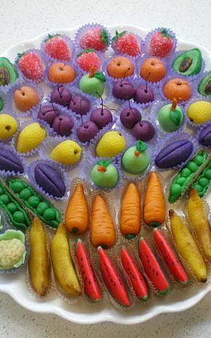 Marzipan masquerading as vegetables (photo credit: Courtesy Judith Zer-Aviv)