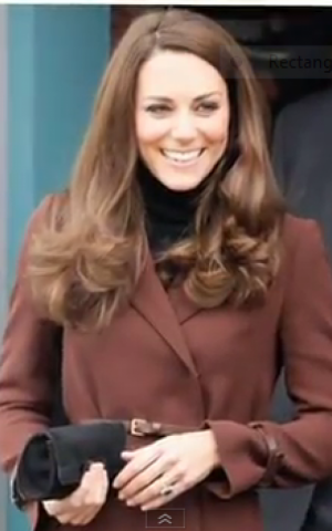 Kate Middleton in one of her Hasidic-inspired frock coats (photo credit: PopSugarTV)