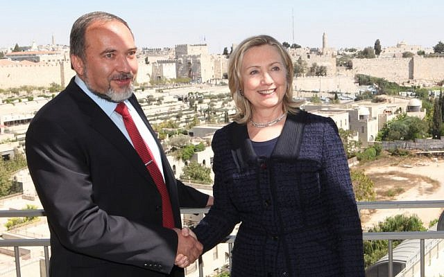 FM Avigdor Lieberman and Secretary of State Hillary Clinton shake hands during her  Sept. 15, 2010 visit to Jerusalem (photo credit: Yossi Zamir/Flash90)