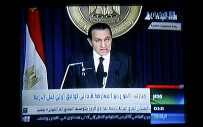Hosni Mubarak addresses Egypt on television during the Egyptian Revolution in 2011 (photo credit: Abed Rahim Khatib/Flash90)