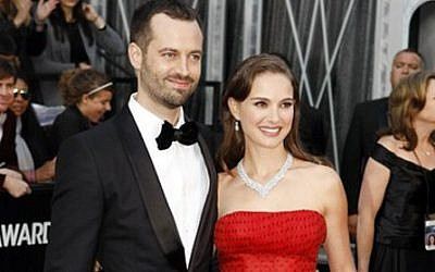 Natalie Portman and Ben Millepied, seen here on the red carpet prior to the 2012 Academy Awards. (photo credit: Courtesy Oscar.go.com/JTA)