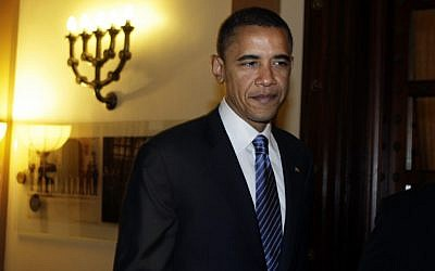 Barack Obama in Jerusalem, during his 2008 presidential campaign (photo credit: Daniel Bar On/POOL/Flash90)