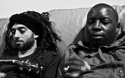 Idan Raichel and Vieux Farka Toure take a break from recording (photo credit: courtesy/www.toureraichel.com)