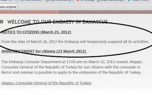 A screen shot of the Turkish embassy's announcement on Sunday