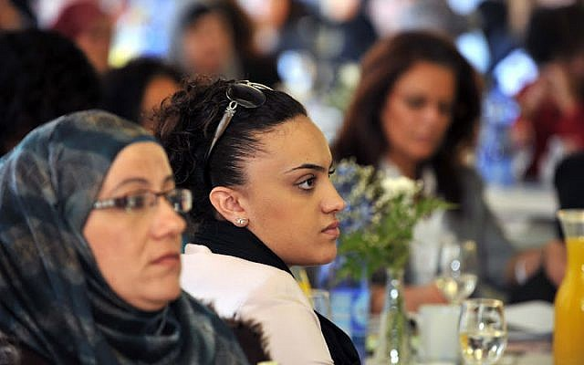 Arab and Jewish businesswomen at a Jasmine conference in 2011 (photo credit: David Katz/The Israel Project)