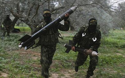 File photo of Islamic Jihad members in Gaza preparing to launch rockets (photo credit: CC BY-SA Amir Farshad Ebrahimi, Flickr)