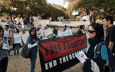 An anti-Israel demonstration at the University of Texas. (photo credit: CC-BY monad68, Flickr)