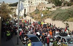 Protesters marching in Jaffa as part of Land Day on Saturday. (photo credit: @justjerusalem, Twitter)