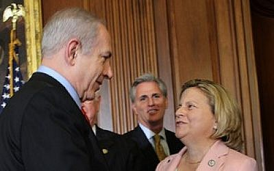 Prime Minister Benjamin Netanyahu greets Rep. Ileana Ros-Lehtinen (R-FL) in March 2012. (photo credit: Courtesy House Foreign Affairs Committee)