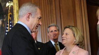 Prime Minister Netanyahu greets House Foreign Affairs Committee Chairman Ileana Ros-Lehtinen (photo credit: courtesy House Foreign Affairs Committee)