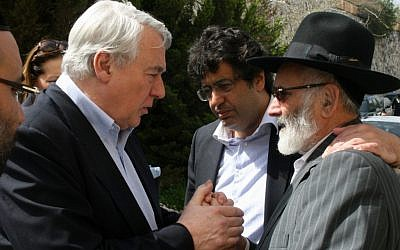 French MP Claude Goasguen, left, meeting with Shlomo Sandler on Monday. (photo credit: Daniel Cohen/Israel Sun)